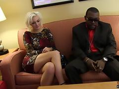 Glamorous white blonde adores interracial sex with hung black men