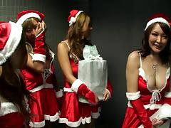 Four Asian cock sucking bitches get in the Christmas spirit