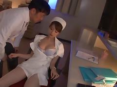 Naughty Japanese nurse rimming a man's ass in the hospital