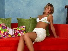 Sybian on the floor ridden by a skinny blonde chick