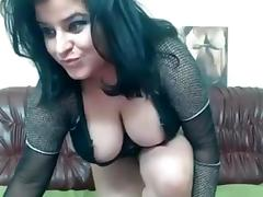 Raven haired girl with huge melons loves playing with her dildos