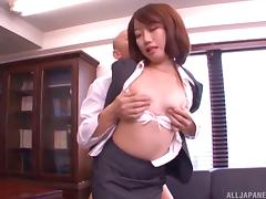 Secretary with small Japanese tits stripped and fucked