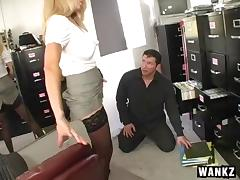 Milf Angela Attison gets fucked in her sexy black stockings