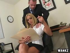 Fucking his slutty blonde coworker on a desk feels great