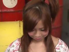 Konatsu Aozona kneels and throats on two ###s