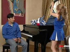 Beddable cheerleader appeases the dude with a steamy blowjob ahead of a wild throbbing in a reality shoot