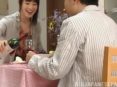 Asian seductress changes into lingerie to fuck her man