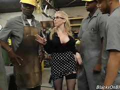 Christie Stevens gangbanged by guys at the warehouse