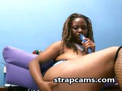 Busty Ebony With Blue SexToy