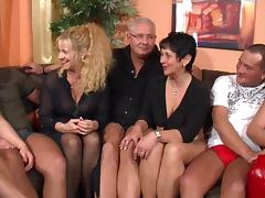 Mature European sluts in high heels and lingerie sucking cocks
