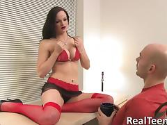 He gets the show of a lifetime watching this lingerie girl masturbate