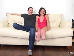 Slender brunette slut in lingerie has her trimmed pussy drilled