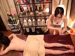 Hardcore Japanese massage with plenty of oil and stroking