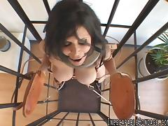 Caged girl and her crual master