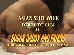 Asian slut wife has a threesome with her husband and a friend