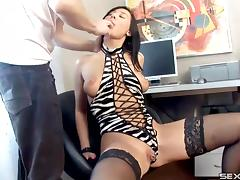 Brilliant and steamy brunette gets her asshole thrilled hard in this office scene