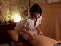 Japanese cracker gives a stunning massage and rides the dick