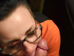Throat fuck cum on lucretia's glasses facial
