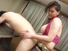 Thick Japanese girl pegging a guy