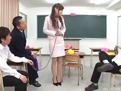 Teacher on a leash stripped and fucked by a group of guys