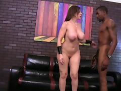 A cuckolded husband watches his wife ride a big black cock