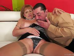 Big boobs granny gets naughty with a hard dick fucking her