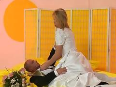 Groom fucks his delicious bride