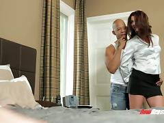 Dirty dark-haired bitch with a shaved pussy and big tight ass enjoying an interracial threesome