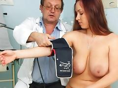 Busty chubby brunette Stella Fox vagina and tits check-up