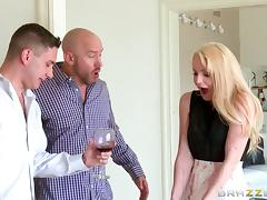 Sassy pornstars having a foot job in an astonishing lesbian scene