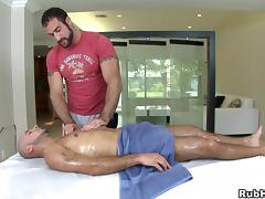 Amazing gay with big butt being given superb massage