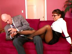 Madly in sex bitch in glasses gives a cock a steamy footjob in POV
