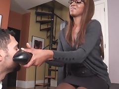 EBONY FEET IN STOCKING WORSHIP --mfl
