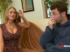 Voluptuous blonde mom looks damn hot with a big dick in her cunt
