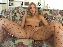 Kinky blonde in fishnets sucks and takes black boyfriends dick