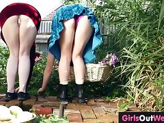 Wet hairy lesbian cunts licked in the garden