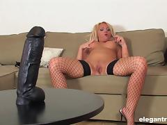 Sarah's favorite way to cum is all over her big, black dildo