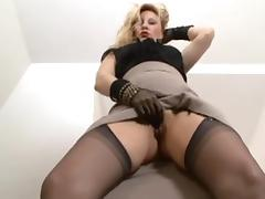 Sexy Blonde Mature Solo Showing her pussy