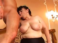 Hairy Mature maid tries threesome