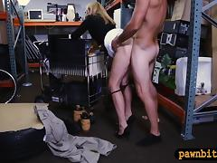 Hot blonde milf sells her stuff and pounded in storage room
