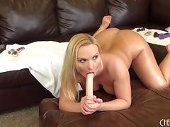 Big ass pornstar chick with blonde hair fucks her dildos