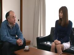 Mature man gets lucky and fucks a tight Japanese babe