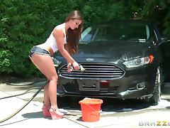 Soapy fun as she washes his car then rides his fat cock