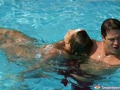 Hunky hero saves a girl in the pool and fucks her teen cunnie