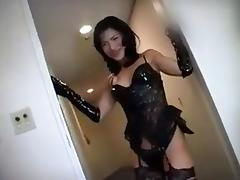 Asian Ladyboy gangbanged