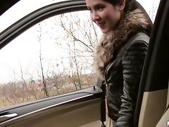Leather jacket teen blows him in the car and fucks in POV