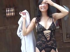Lace lingerie is a lustful delight on the hardcore Japanese slut