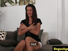 Latina casting babe deepthroating agents cock