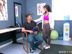 Sporty and athletic doctor gets fucked in ripped yoga pants