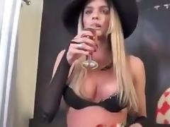 Busty Tranny Wanking Big Erect Dick